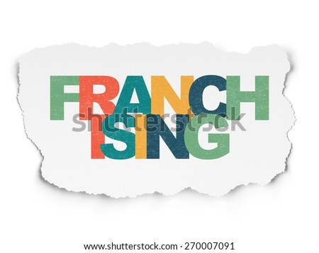 Finance concept: Painted multicolor text Franchising on Torn Paper background with  , 3d render - stock photo