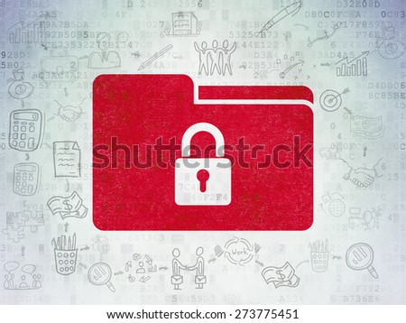 Finance concept: Painted red Folder With Lock icon on Digital Paper background with Scheme Of Hand Drawn Business Icons, 3d render - stock photo