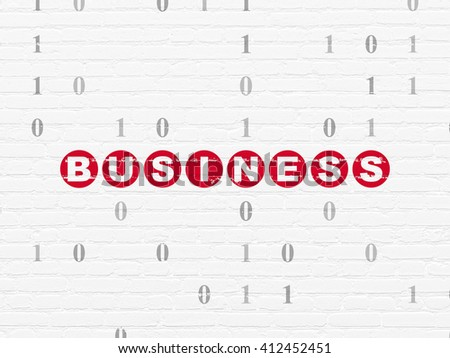 Finance concept: Painted red text Business on White Brick wall background with Binary Code - stock photo