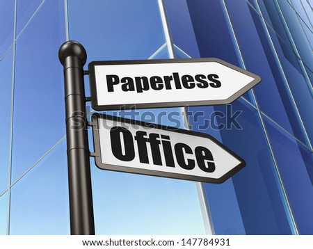 Finance concept: Paperless Office on Building background, 3d render - stock photo