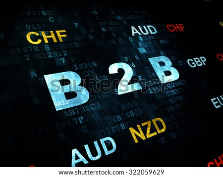 Finance concept: Pixelated blue text B2b on Digital wall background with Currency - stock photo