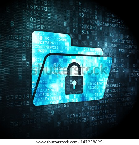 Finance concept: pixelated Folder With Lock icon on digital background, 3d render - stock photo