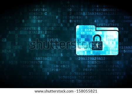 Finance concept: pixelated Folder With Lock icon on digital background, empty copyspace for card, text, advertising, 3d render