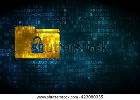 Finance concept: pixelated Folder With Lock icon on digital background, empty copyspace for card, text, advertising