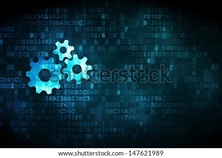 Finance concept: pixelated Gears icon on digital background, empty copyspace for card, text, advertising, 3d render - stock photo