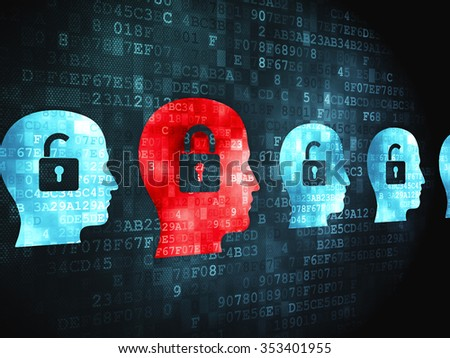 Finance concept: pixelated Head With Padlock icon on digital background