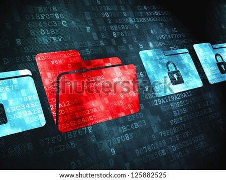 Finance concept: pixelated  icon on digital background, 3d render - stock photo