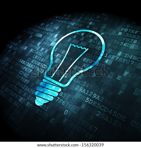 Finance concept: pixelated Light Bulb icon on digital background, 3d render - stock photo