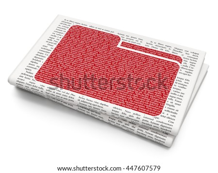 Finance concept: Pixelated red Folder icon on Newspaper background, 3D rendering