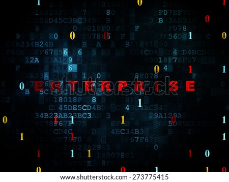 Finance concept: Pixelated red text Enterprise on Digital wall background with Binary Code, 3d render - stock photo