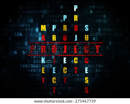 Finance concept: Pixelated red word Project in solving Crossword Puzzle on Digital background, 3d render - stock photo