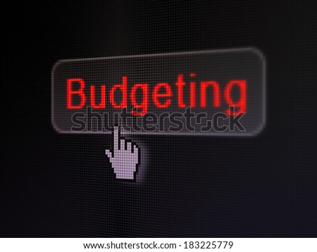 Finance concept: pixelated words Budgeting on button with Hand cursor on digital computer screen background, selected focus 3d render - stock photo
