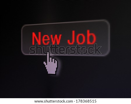 Finance concept: pixelated words New Job on button with Hand cursor on digital computer screen background, selected focus 3d render - stock photo