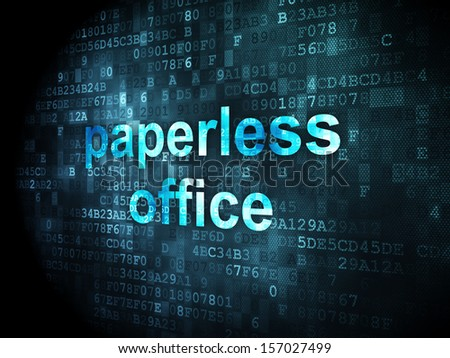 Finance concept: pixelated words Paperless Office on digital background, 3d render - stock photo