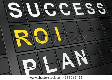 Finance concept: ROI on airport board background, 3d render - stock photo