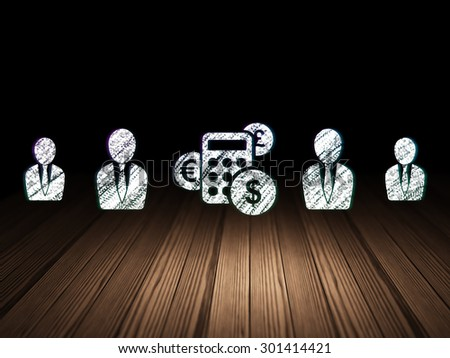Finance concept: row of Glowing business man icons around calculator icon in grunge dark room Wooden Floor, dark background, 3d render