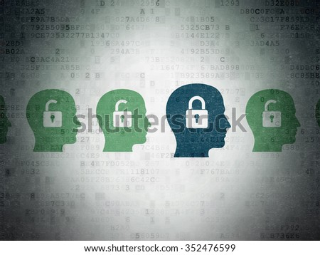 Finance concept: row of Painted green head with padlock icons around blue head with padlock icon on Digital Paper background
