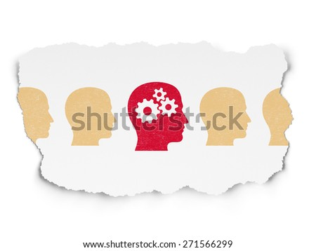 Finance concept: row of Painted yellow head icons around red head with gears icon on Torn Paper background, 3d render - stock photo