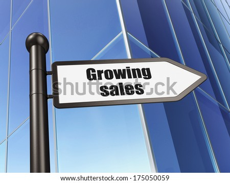 Finance concept: sign Growing Sales on Building background, 3d render - stock photo