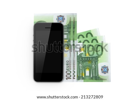 Finance concept, smart phone with blank screen and one hundred euro banknotes, isolated on white background. - stock photo