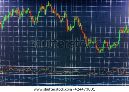 Finance concept. Stock exchange graph. Stock market graph and bar chart price display. Live stock trading online. Price chart bars. Stock market graph on the screen.   - stock photo