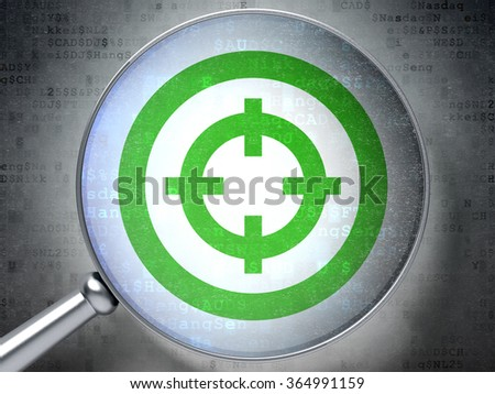 Finance concept: Target with optical glass on digital background - stock photo
