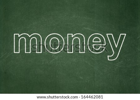 Finance concept: text Money on Green chalkboard background, 3d render