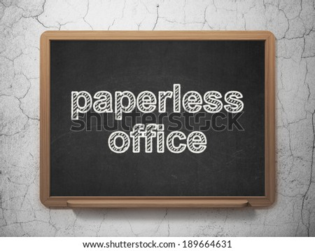 Finance concept: text Paperless Office on Black chalkboard on grunge wall background, 3d render - stock photo