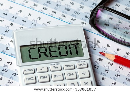 finance concept:word credit displayed on calculator