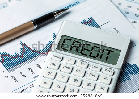 finance concept:word credit displayed on calculator - stock photo