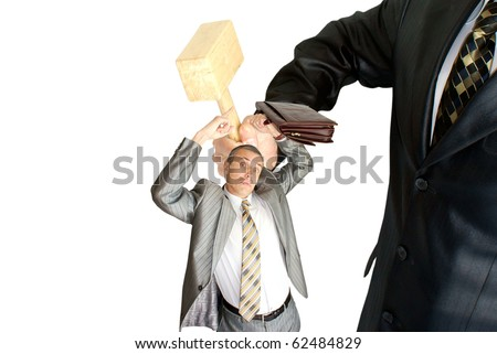 finance crisis knock strongly of modern business-gross wooden hammer - stock photo
