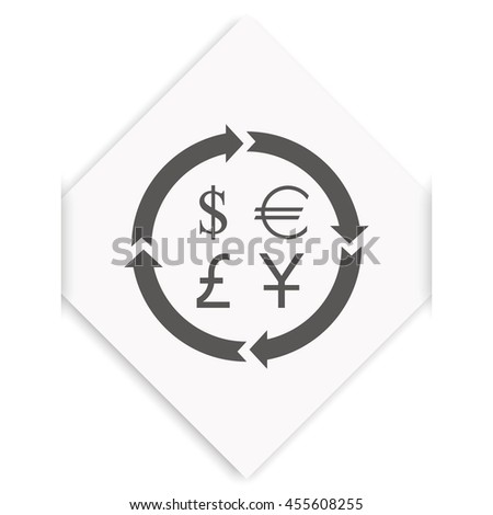 Finance currency exchange icon set. Yuan, dollar, euro, pound sterling money exchange. - stock photo