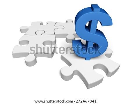 Finance. 3D. Financial Puzzle - stock photo