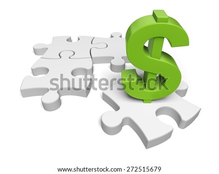 Finance. 3D. Financial Puzzle II - stock photo