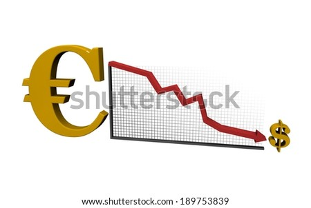 finance diagram euro vs dollar - stock photo