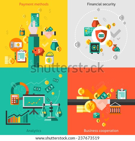 Finance flat icons set with payment methods financial security analytic business cooperation isolated  illustration - stock photo