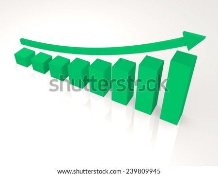 Finance graphic with curve arrow up,isolated background,green color tone - stock photo