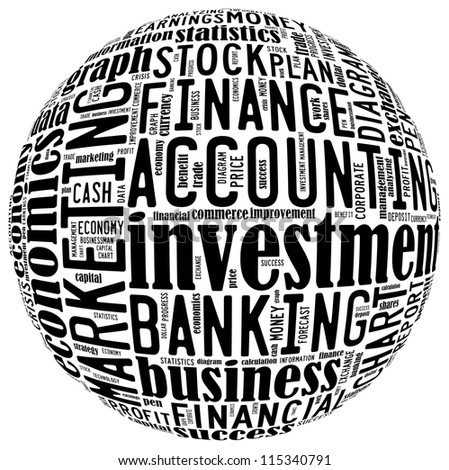 Finance info-text graphics arrangement concept composed in round sign shape on white background - stock photo