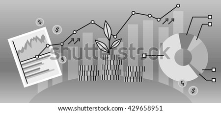 Finance investment concept banner. Graph or chart the growth of financial investment. Business Pie Chart increase in profits money. Metaphor sprout grew on a stack of gold coins.  illustration - stock photo