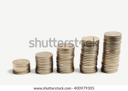 Finance, money. Coins on the table