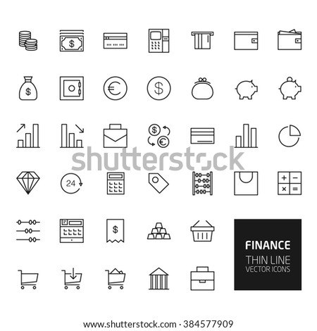 Finance Outline Icons for web and mobile apps - stock photo