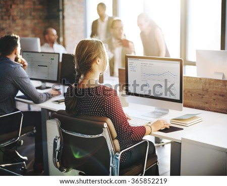 Finance Report Statistic Businesswomen Office Concept - stock photo