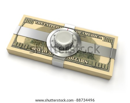Finance security concept. Dollar banknotes with combination safe lock. - stock photo