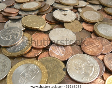 Finance series. Coins background - stock photo