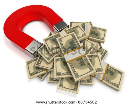 Finance success concept. Red magnet attracts dollar banknotes. - stock photo