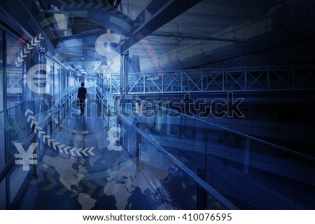 finance technology(fintech) and world economy, abstract image visual - stock photo