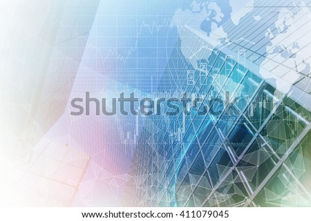 finance technology (fintech) and world economy, abstract image visual - stock photo
