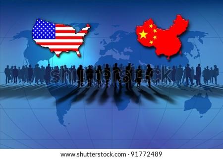 Finance United States and China - stock photo