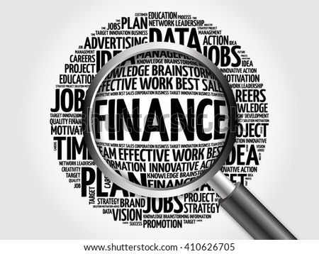 FINANCE word cloud with magnifying glass, business concept - stock photo