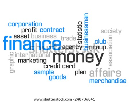 FINANCE WORLD CLOUD CONCEPT TEST AND MORE BLUE - stock photo